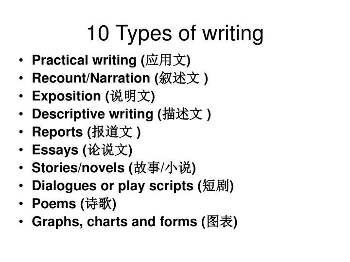 10 Types of writing