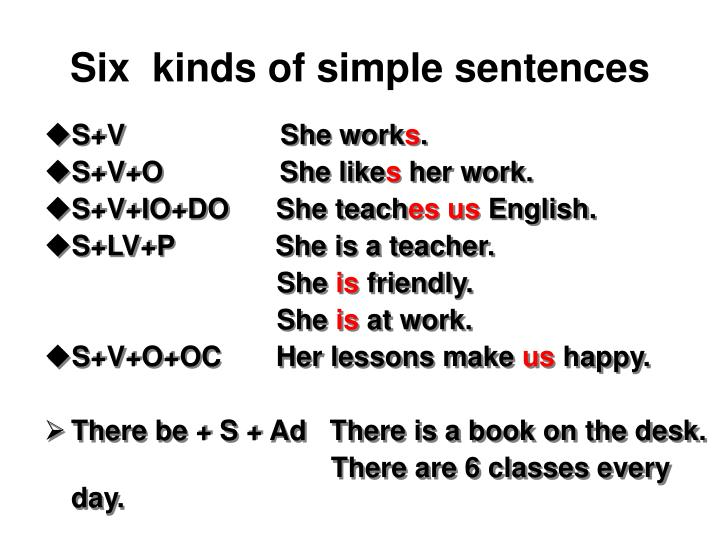 Six  kinds of simple sentences