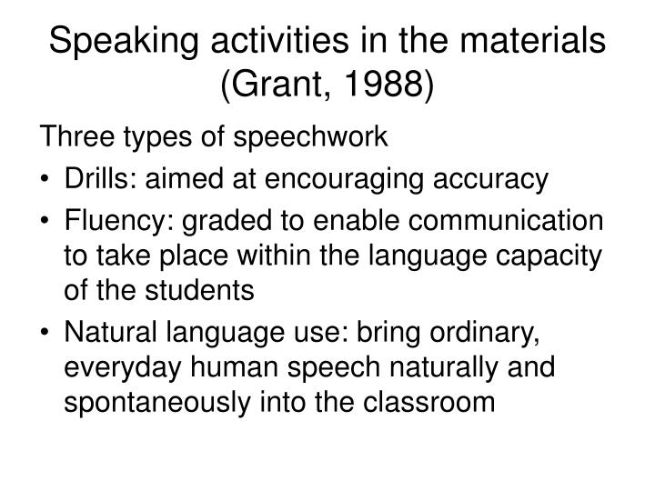 Speaking activities in the materials