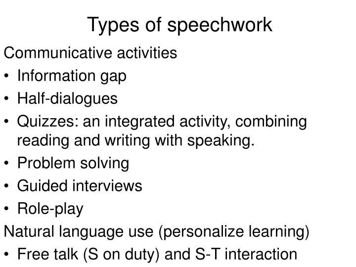 Types of speechwork