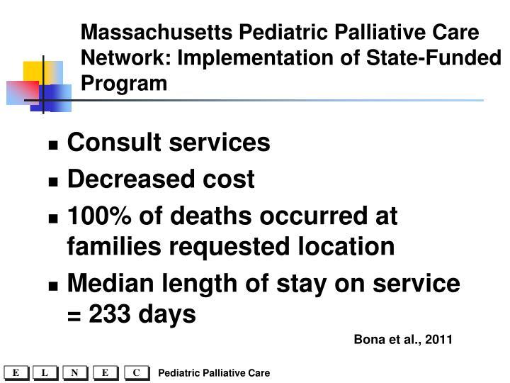 Massachusetts Pediatric Palliative Care Network: Implementation of State-Funded Program