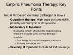 empiric pneumonia therapy key points