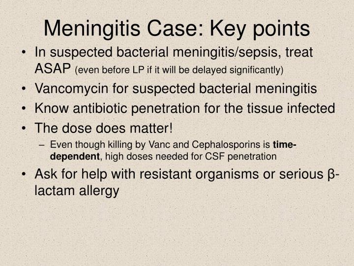 Meningitis Case: Key points