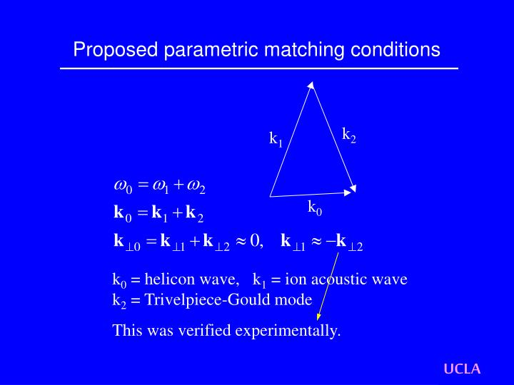 Proposed parametric matching conditions