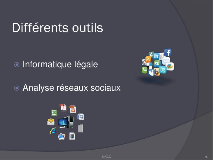 Différents outils