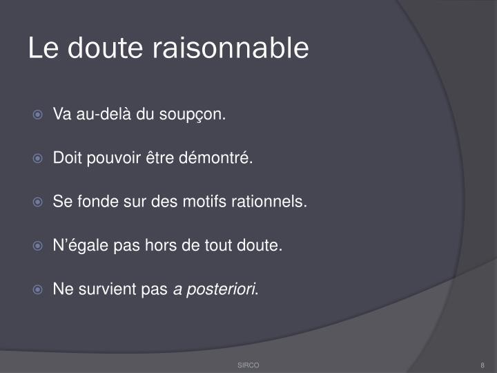 Le doute raisonnable