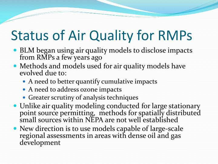 Status of Air Quality for RMPs