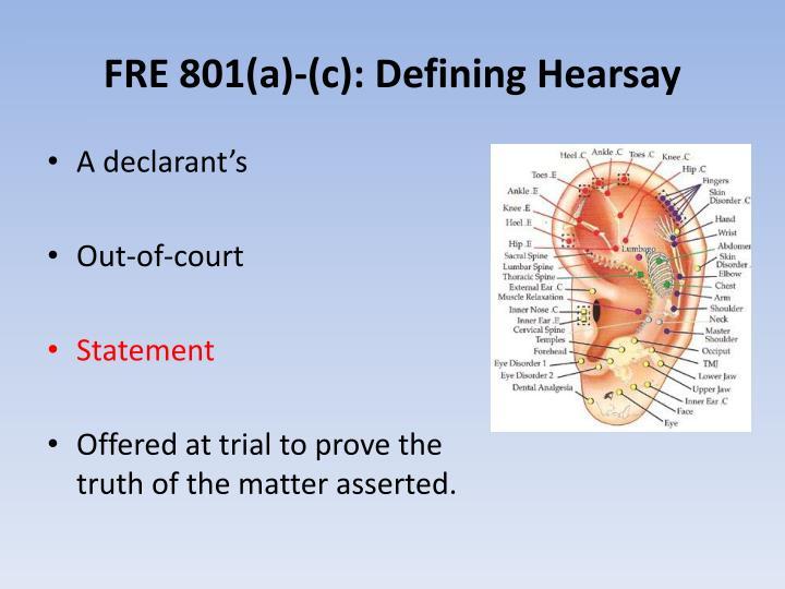 FRE 801(a)-(c): Defining Hearsay