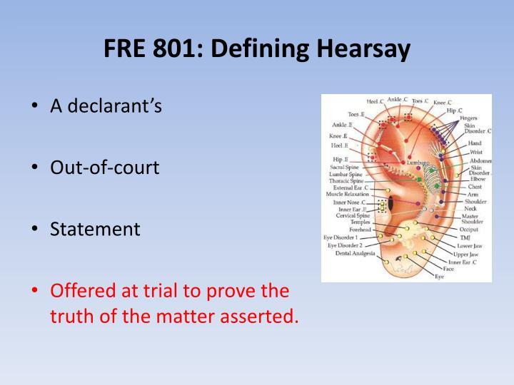 FRE 801: Defining Hearsay
