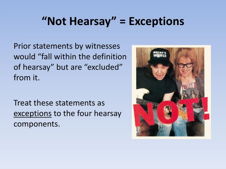 """""""Not Hearsay"""" = Exceptions"""