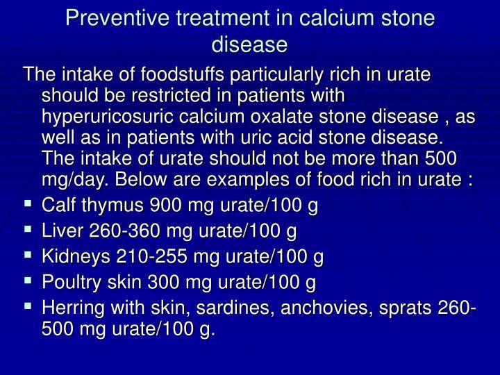 Preventive treatment in calcium stone disease