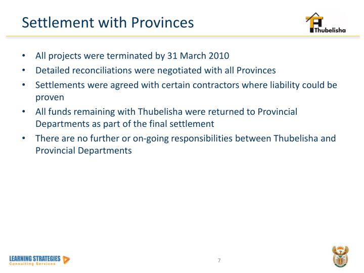 Settlement with Provinces