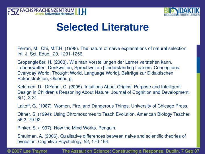 Selected Literature