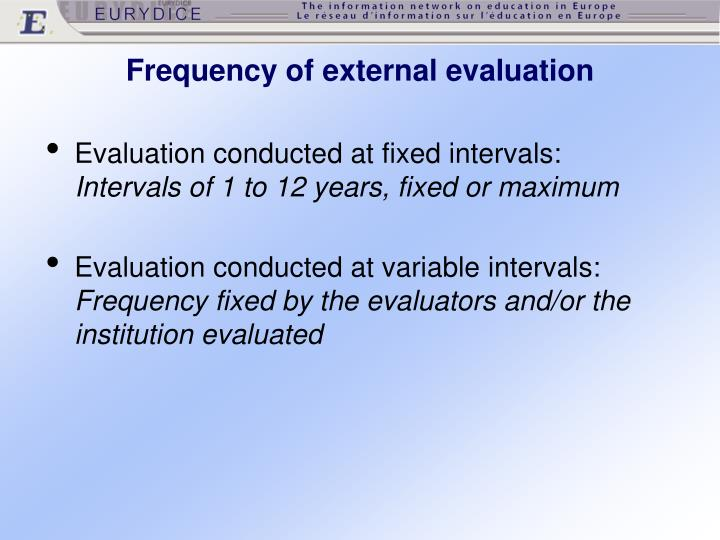 Frequency of external evaluation