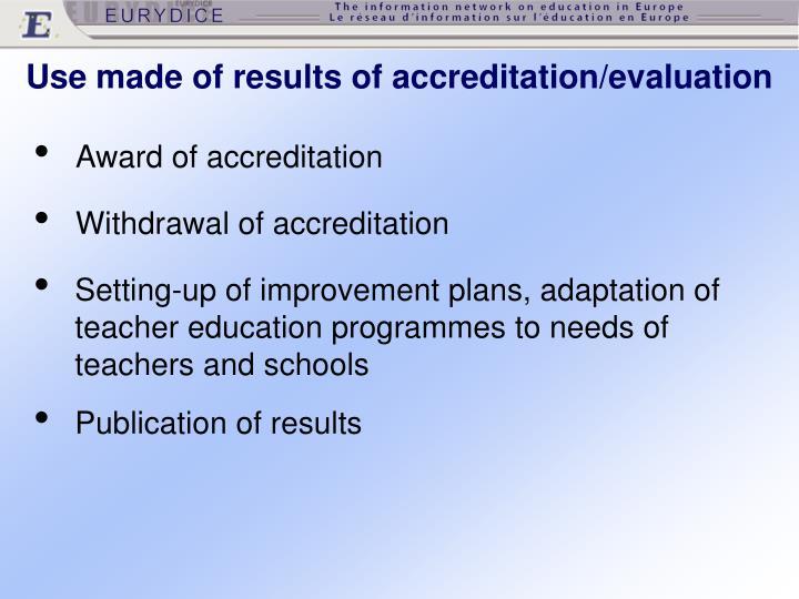 Award of accreditation