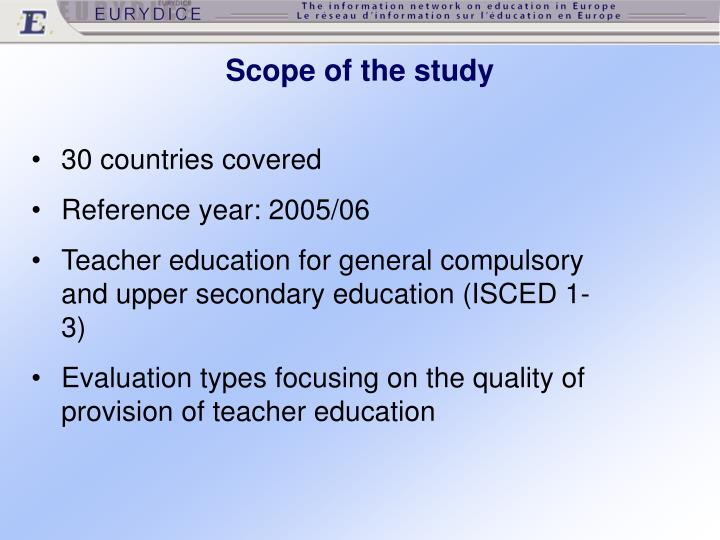 Scope of the study