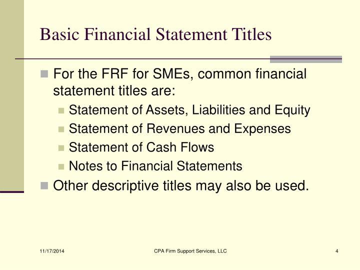 Basic Financial Statement Titles