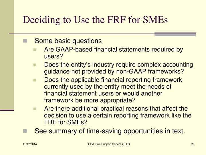 Deciding to Use the FRF for SMEs