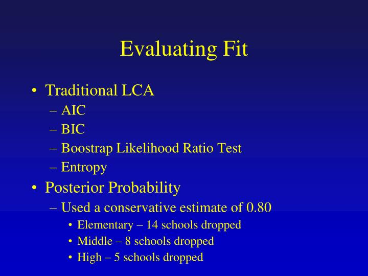 Evaluating Fit