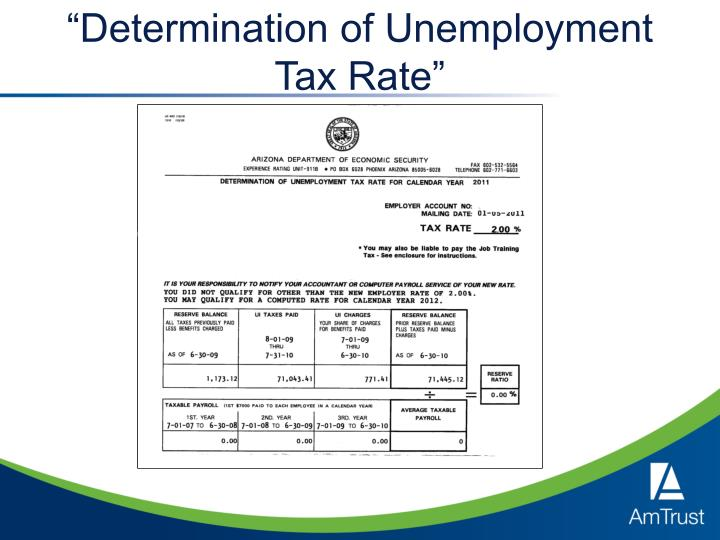 """Determination of Unemployment Tax Rate"""