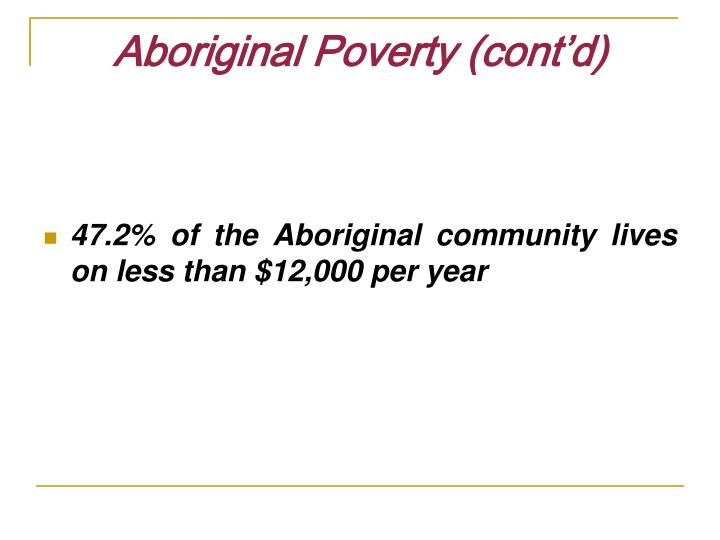 Aboriginal Poverty (cont'd)