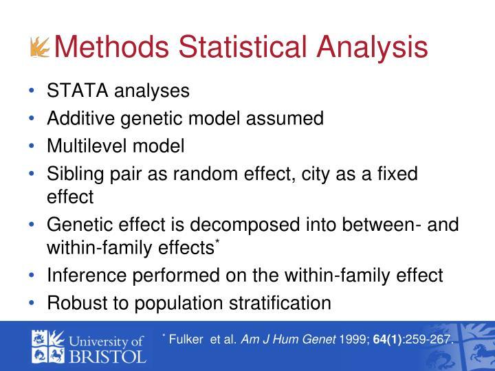 Methods Statistical Analysis