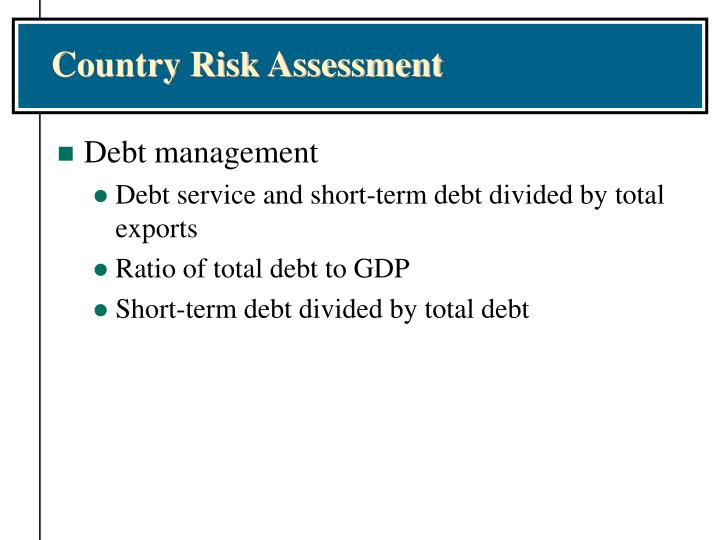 Country Risk Assessment