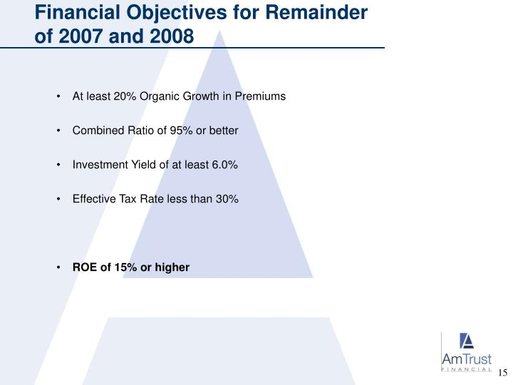 Financial Objectives for Remainder