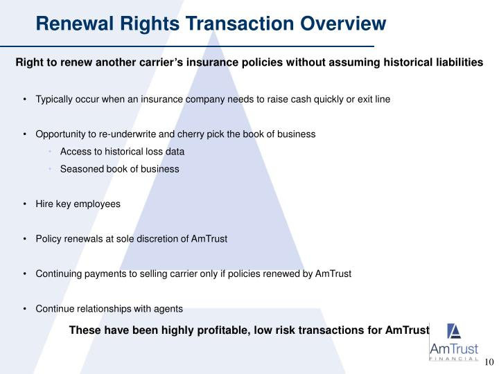 Renewal Rights Transaction Overview