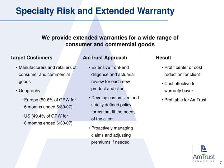 Specialty Risk and Extended Warranty
