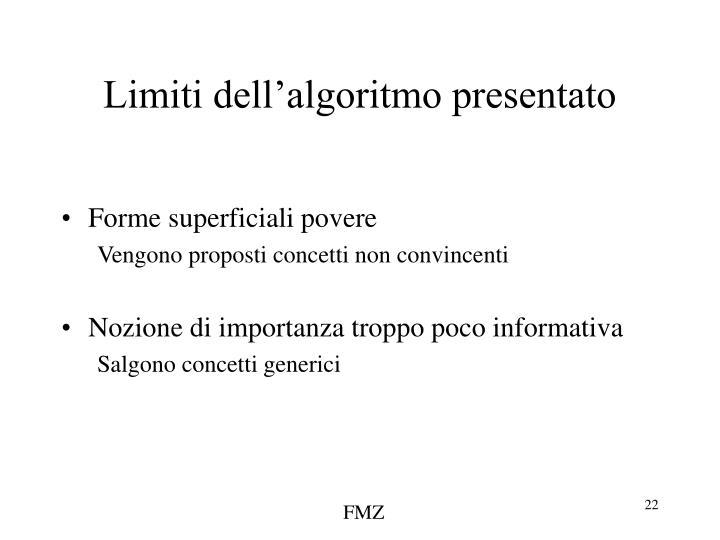 Limiti dell'algoritmo presentato