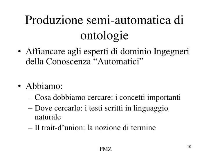 Produzione semi-automatica di ontologie