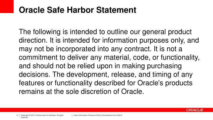 Oracle safe harbor statement