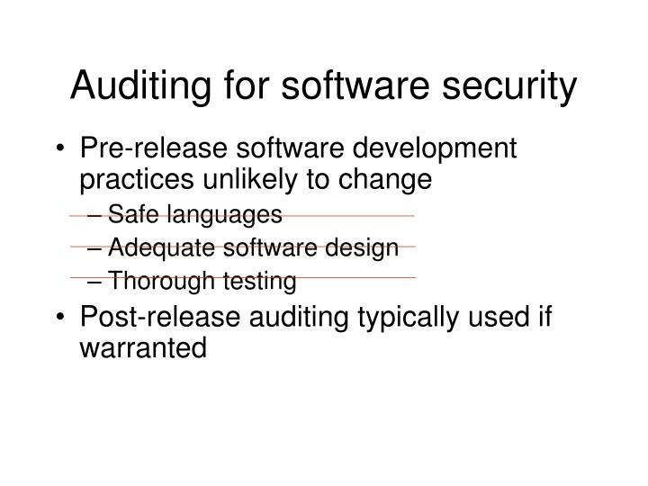 Auditing for software security