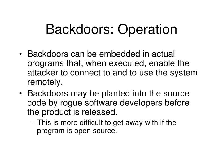 Backdoors: Operation