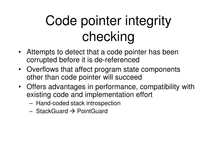Code pointer integrity checking