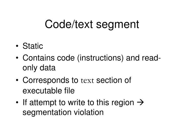 Code/text segment