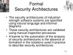 formal security architectures