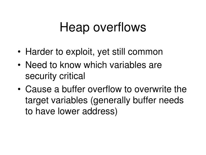 Heap overflows
