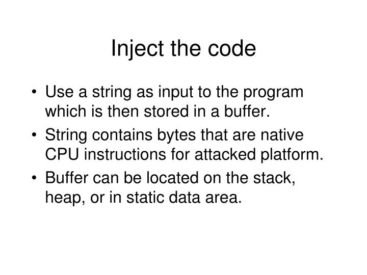 Inject the code