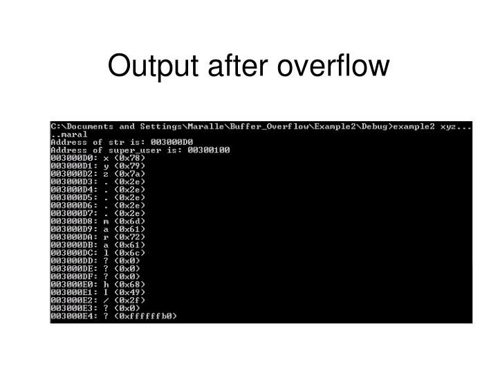 Output after overflow