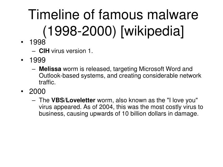 Timeline of famous malware (1998-2000) [wikipedia]