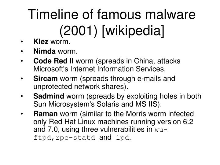 Timeline of famous malware (2001) [wikipedia]