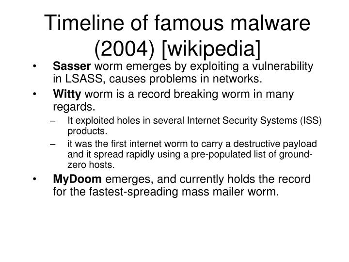 Timeline of famous malware (2004) [wikipedia]