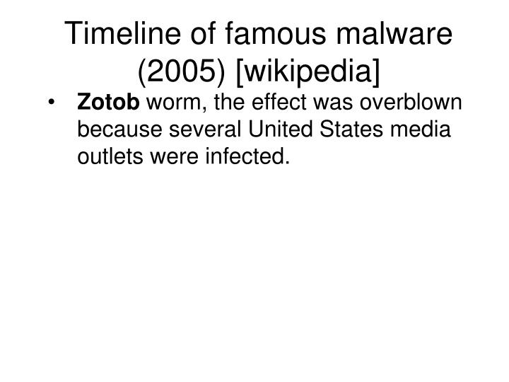 Timeline of famous malware (2005) [wikipedia]