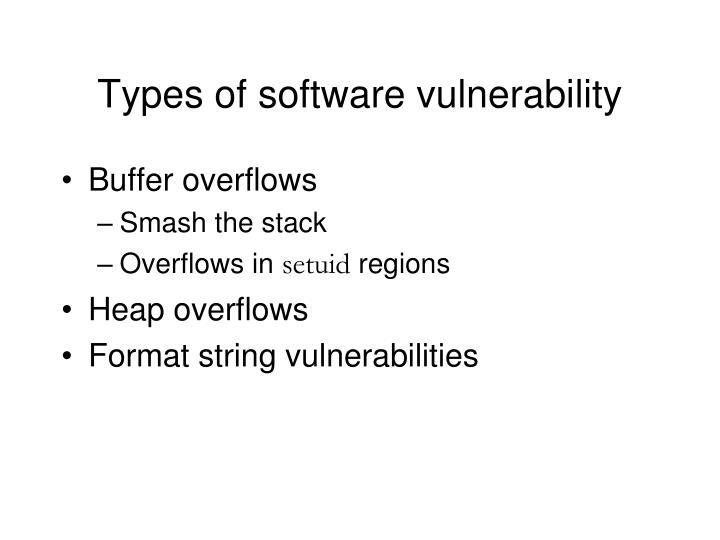 Types of software vulnerability