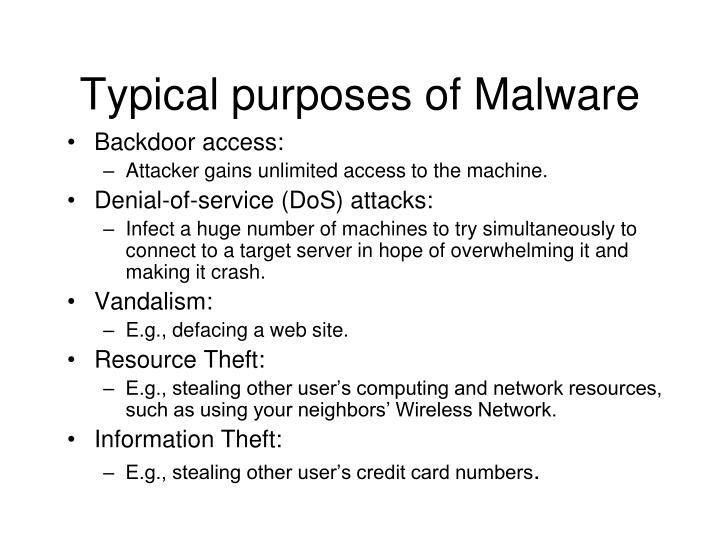 Typical purposes of Malware