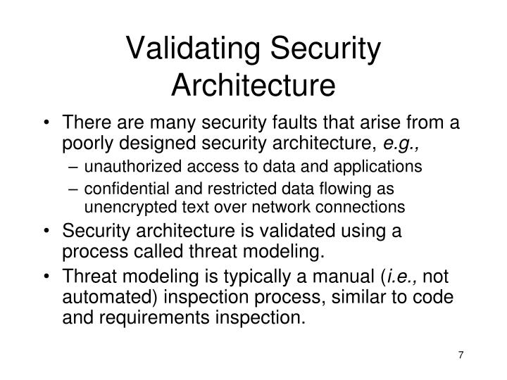 Validating Security Architecture