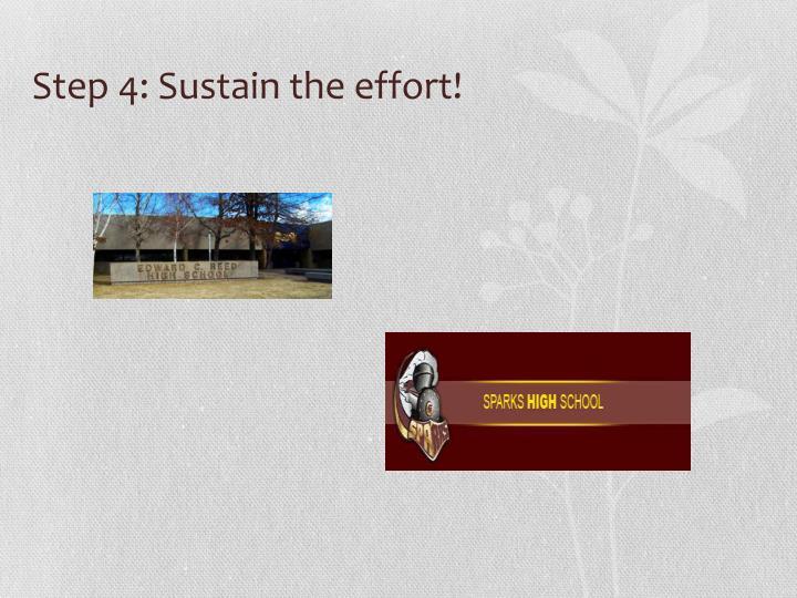 Step 4: Sustain the effort!