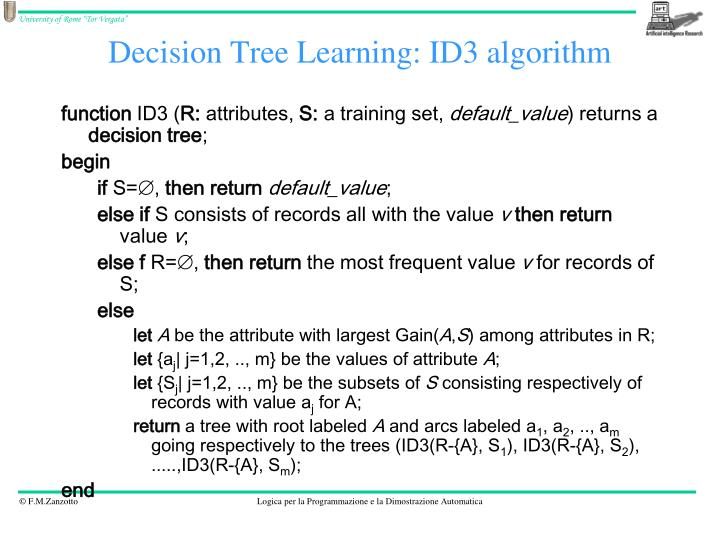 Decision Tree Learning: ID3 algorithm